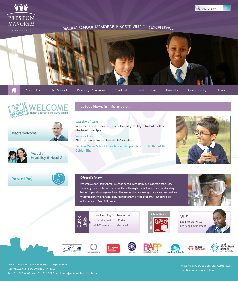 Preston Manor High School website design