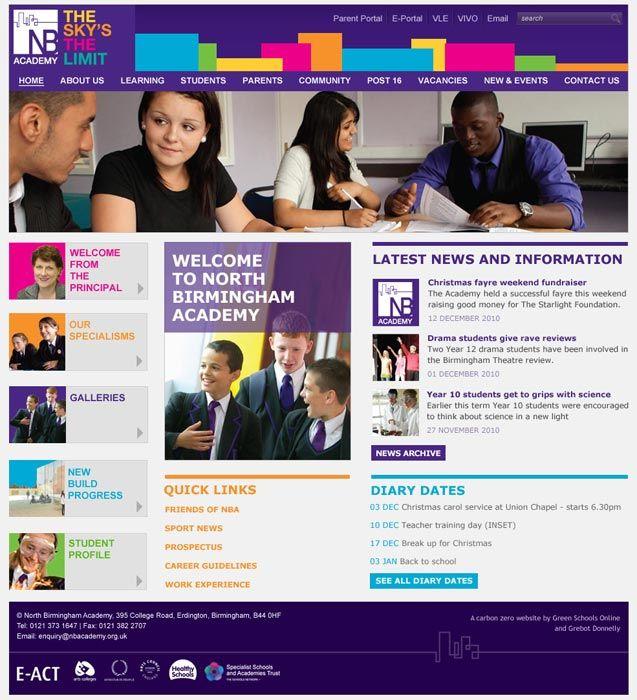 North Birmingham Academy website design