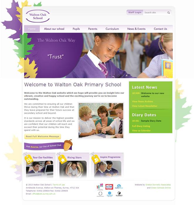 Walton Oak School website design