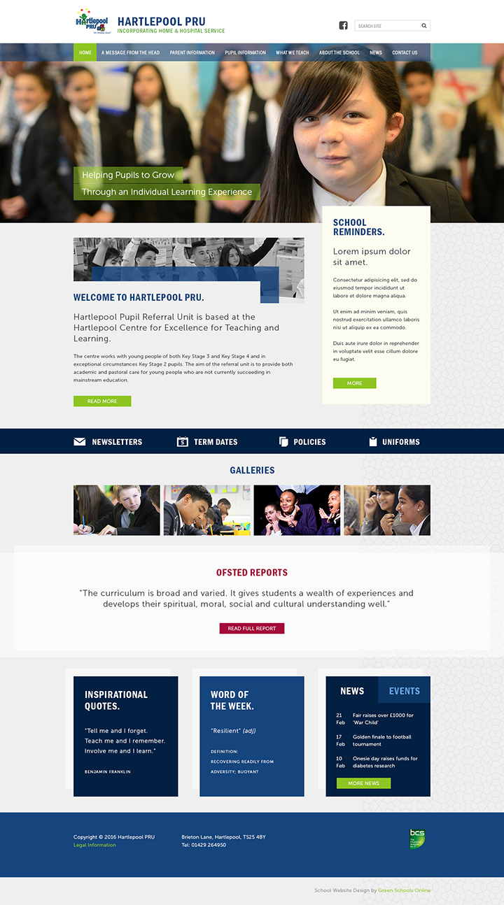 Hartlepool PRU Website Design